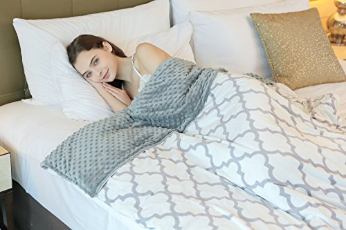 YnM Weighted Blanket (15 lbs for 140lbs individual, 48''x72''), Various Sizes Gravity Blanket for Children and Adults, Great Sleep Therapy for People with Anxiety, Autism, ADHD, Duvet Cover Included