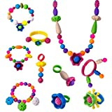 WISHTIME Kids Pop Snap Beads Set HS6634 DIY Jewelry Kit for Necklace and Bracelet for Girls Art Crafts Gift Toys 85 Pieces Assorted shape Fun Jewellery