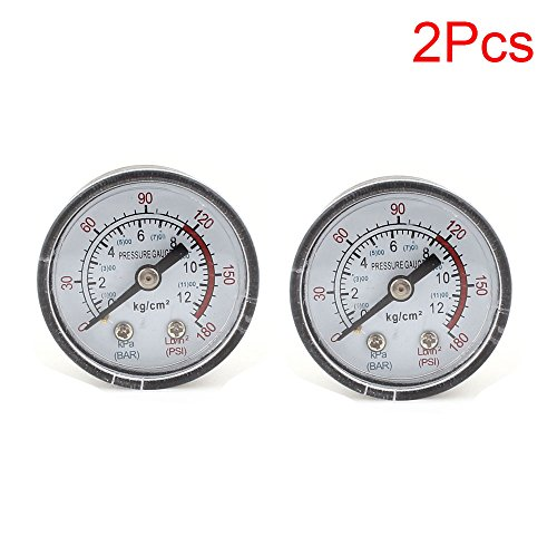 LDEXIN 2pcs 0~180PSI 4.1cm/1.6inch Diameter Dial Utility Pressure Gauge for Air Compressor Water Oil Gas Center Back Mount 0.9/0.35inch Thread Diameter (Dial Plate Round Scale)