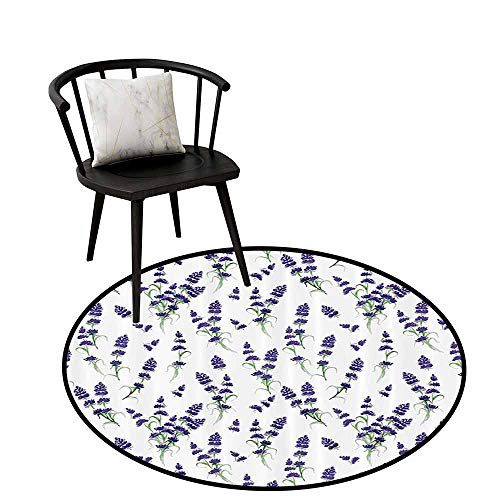 Anti-dust Round Rug Flower House Decor Easy to Clean Watercolor Lavender Flowering Fragrant Pale Plant Essential Oil Extract Temperate Violet Green D47(120cm)