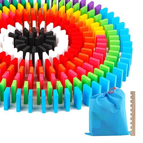 Haibei 도미노 12 색 240 장 적목 교육 완구 원목 장난감 다채로운 어린이 생일 선물 나란히 용 도구있는 수납 가방 세트