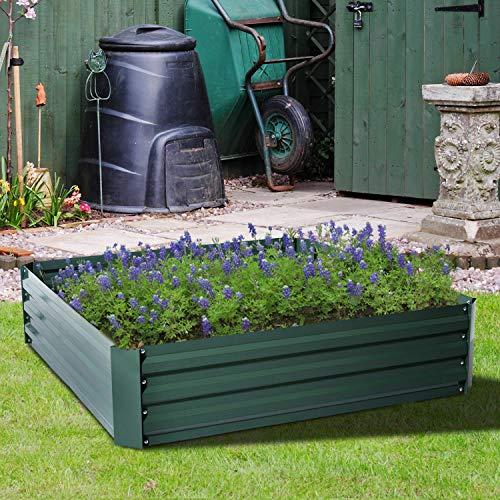 StarsDeals 4x4 Ft Raised Metal Garden Bed Patio Backyard Flower Vegetable Grow Planter New