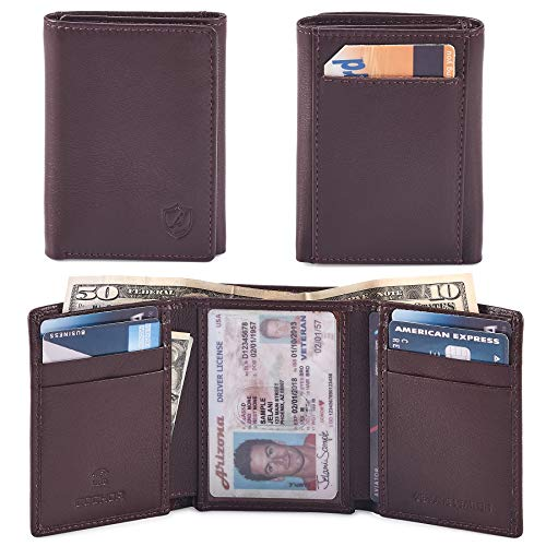 (COCHOA Men's Trifold Minimalist Billfold Wallet With ID Window and back card pocket, RFID Blocking, Gift Box)