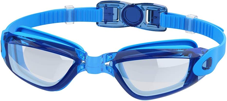 Adepoy Swimming Goggles Anti Fog Crystal Clear Vision with UV Protection No Leaking Easy to Adjust Comfortable for Adults Men Women-Black Blue
