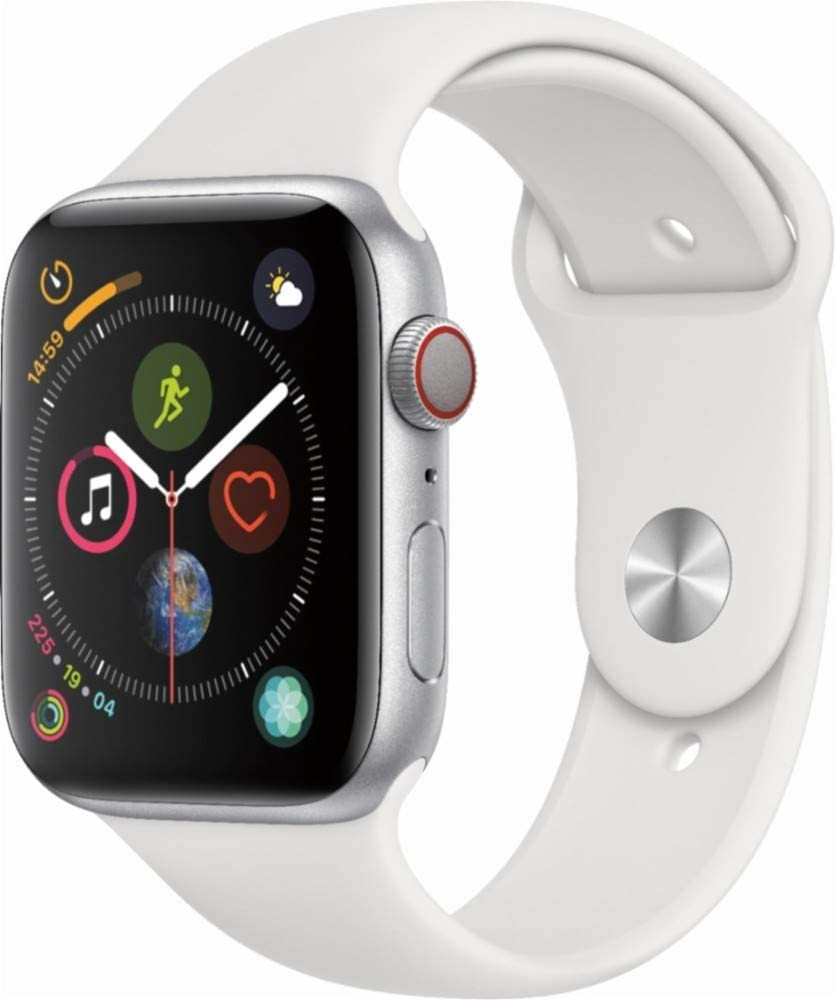 Apple Watch Series 4 (GPS+Cellular) Aluminum Case Unlocked Compatible with iPhone 5s and Above (Silver Aluminum Case with White Sport Band, 44mm)