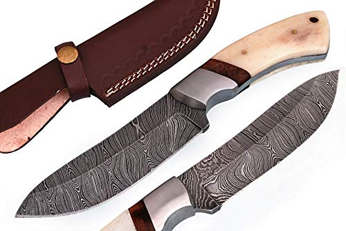 Randy knives RA-9020 Custom made damascus steel hunting knife bone handle and walnut spacer with real leather sheath.