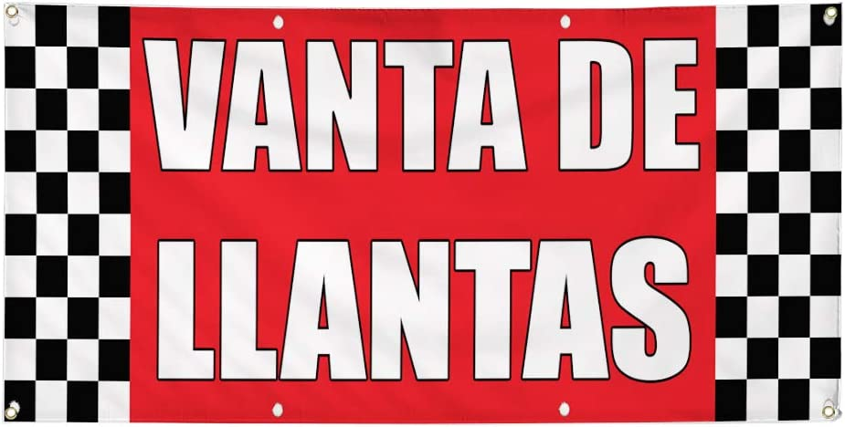 Multiple Sizes Available 4 Grommets Set of 3 Vinyl Banner Sign Venta De Llantas Tire Sale Auto Body Shop Marketing Advertising Red 24inx60in