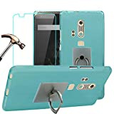ZTE AXON (A2015) Case with Phone Stand Holder + Screen Protector, Gzerma Soft Shock-Absorbing TPU Durable Protection Cover with 360 Rotation Kickstand and Shatter-proof Protective Film for ZTE AXON (A2015) (Blue)