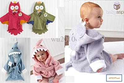 Soft CUTE!!! Animal Baby Hooded Spa Bath Robe for 0-9 months