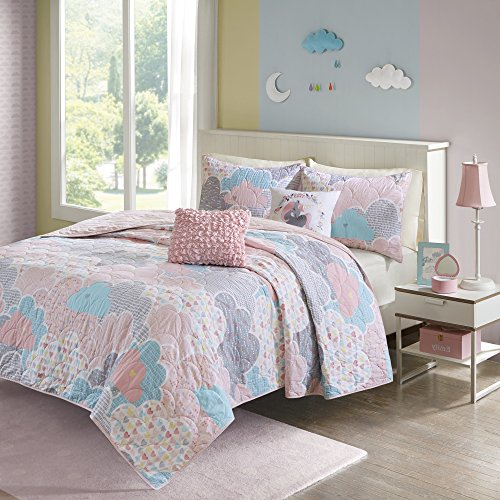 4 Piece Girls, Gorgeous Casual Geometrical Pattern Coverlet Set Twin/ Twin XL, Contemporary Allover Cute Fluffy Clouds Design, Antique Novelty Theme, Unicorn Printed Bedding, Adorable Pink, Aqua Color