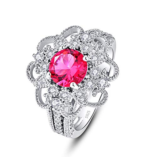 Psiroy 925 Sterling Silver Simulated Ruby CZ Halo Flower Shaped Wedding Ring for Women Size 6