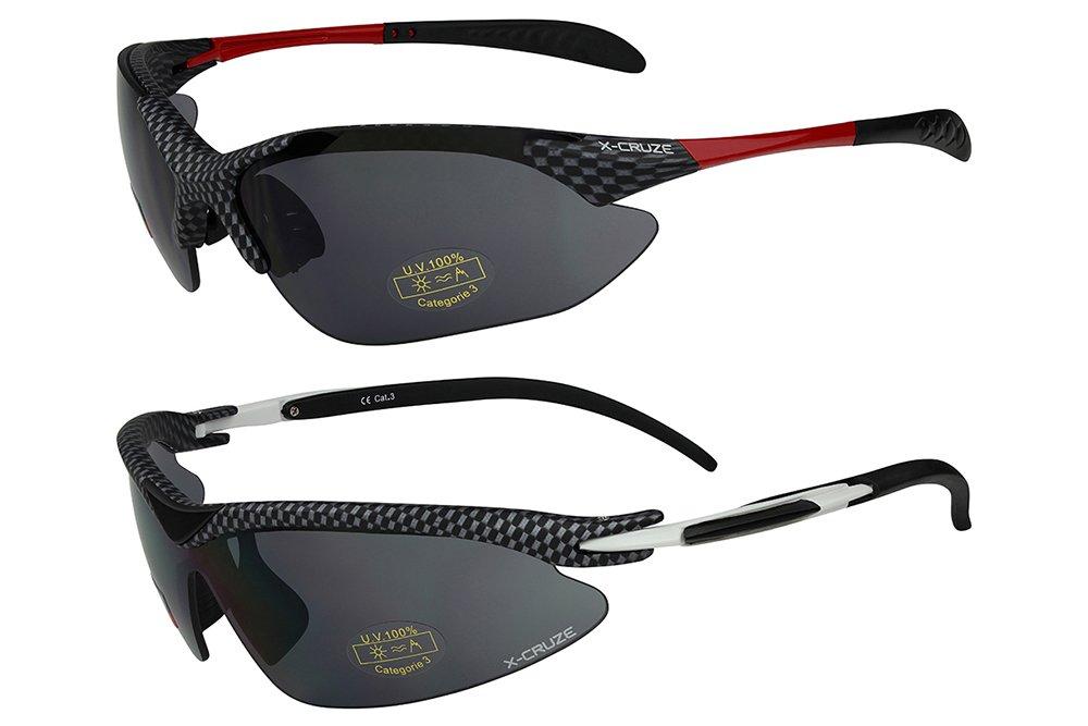 X-CRUZE® 2er Pack X08 Sonnenbrillen Sportbrille Radbrille Fahrradbrille - 1x Modell 1 (rot) und 1x Modell 2 (rot) QwUSjs5