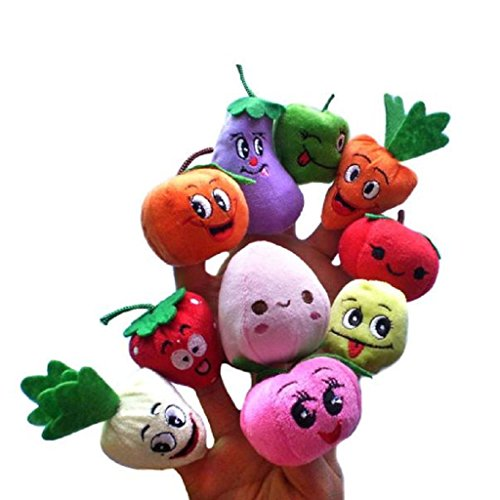 Finger Puppet,10PCS Child Baby Early Education Fruits and vegetables Plush Doll Toys (Playset Finger Puppets)