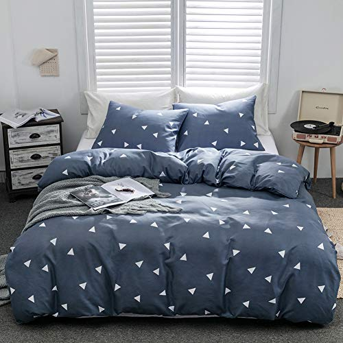 Argstar 2 Pcs Duvet Covers Twin, Geometric Bedding Set Covers, Triangle Pattern Navy Blue Down Comforter Cover, 1200 TC Hotel Luxury Microfiber, 1 Duvet Cover and 1 Pillowcase ()