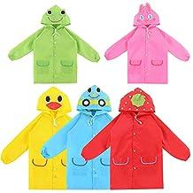 Cute Waterproof Kids Cartoon Raincoat Poncho for Children Suit Age 3-8 Years