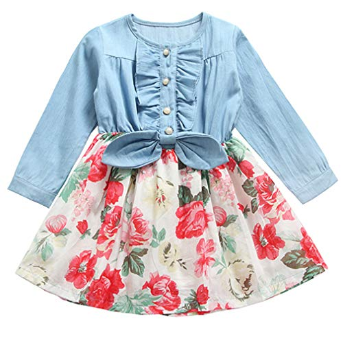Niyage Girls Princess Dress Long Sleeve Denim Tops Floral Tutu Skirts 12 ()