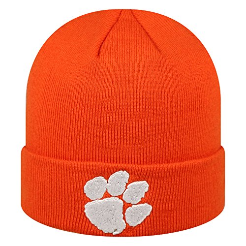 Clemson Tigers Hat (Clemson Tigers Official NCAA Cuffed Knit Tow Beanie Stocking Stretch Sock Hat Cap by Top of the World 933566)