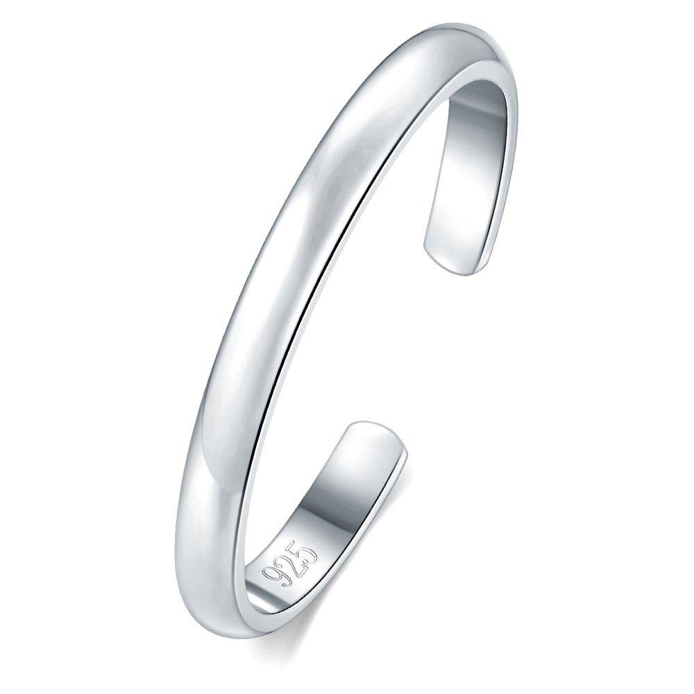 BORUO 925 Sterling Silver Toe Ring, Daisy Flower Hawaiian Adjustable Band Ring 2mm