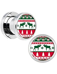 Body Candy Steel Ugly Christmas Sweater Screw Fit Plug Set of 2 6mm to 20mm