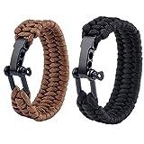 Rudintech Adjustable Stainless Steel D Shackle Paracord Survival Bracelet for Men and Women,Kids for outdoor travling survival