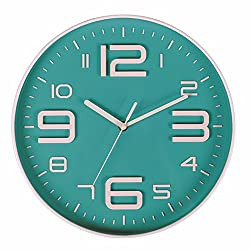 EUTERPE Modern Wall Clock Indoor Non Ticking Movement 10 Inch Big 3D Numerals Wall Clocks Battery Operated for Bedrooms,Decorative Living Room,Kitchen Teal