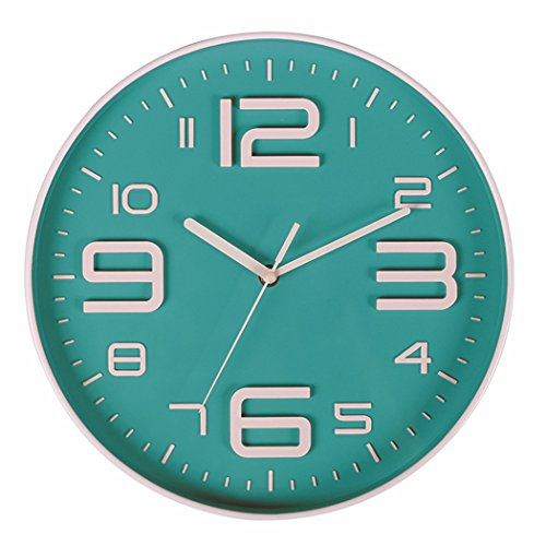 Novelty Kitchen Wall Clock - Bien-Zs Non-Ticking Silent Quartz Wall Clock with Big 3D Number Modern Design Quiet Sweep Movement Indoor Decorative for Living Room Kitchen Wall Clocks Battery Operated 10-Inch Lightgreen