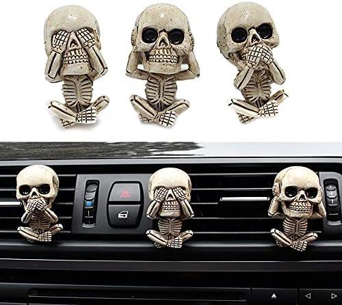 3PCS Car Vent Aromatherapy Essential Oil Diffuser, Car Air Vent Decoration Accessories, Resin Skull Car Ornaments, Automotive Interior Trim