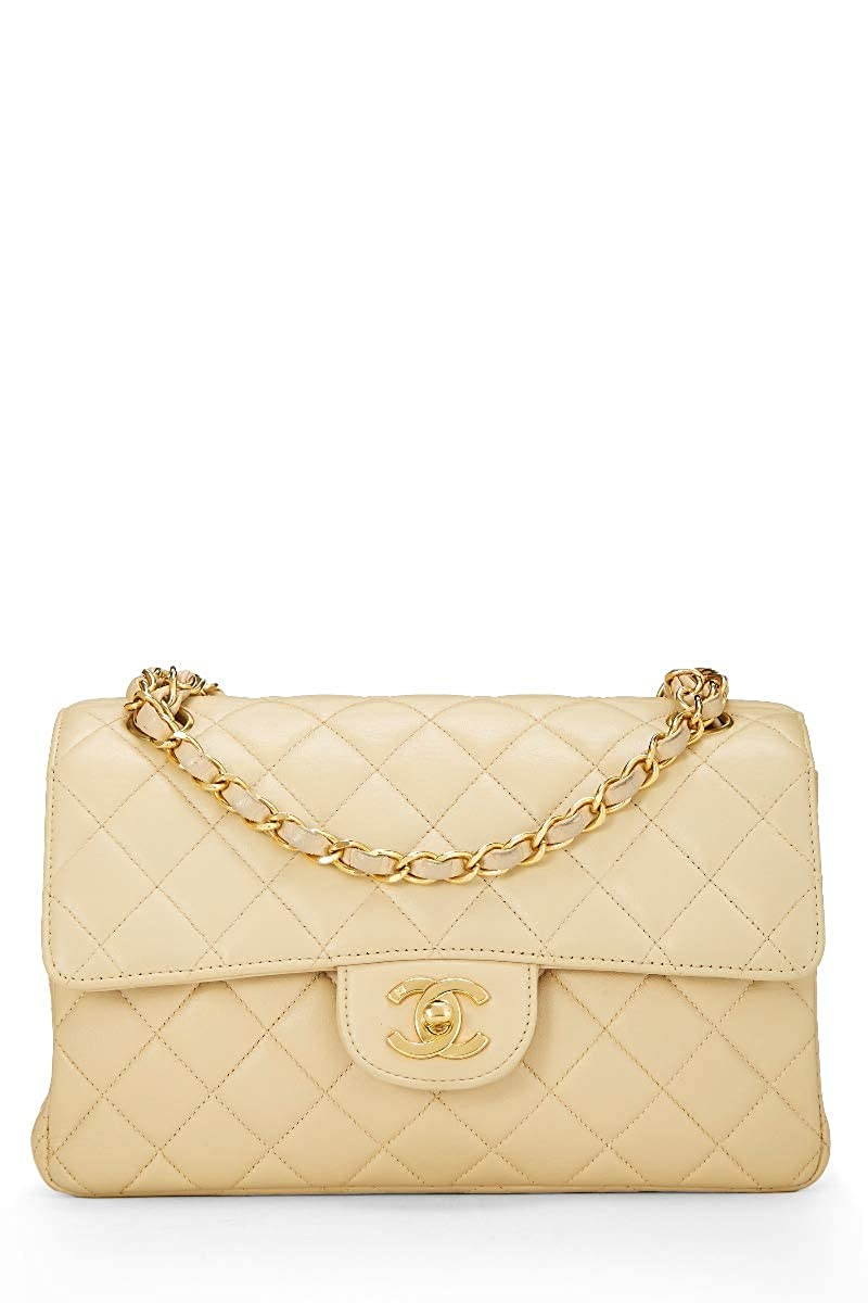 CHANEL Light Beige Quilted Lambskin Double Sided Classic Flap Small (Pre-Owned)