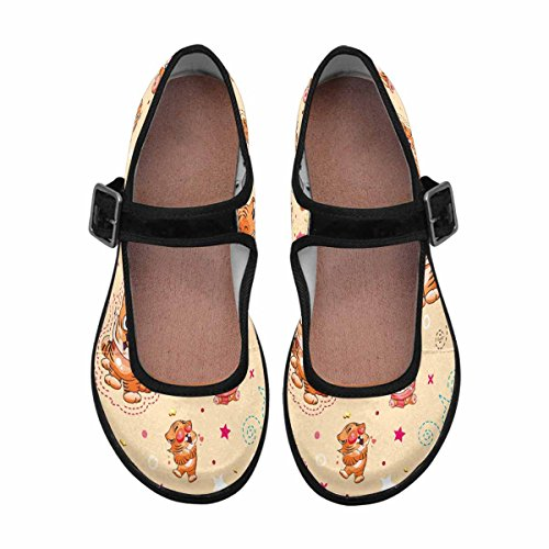 Casual Walking Jane Mary Shoes InterestPrint Womens 7 Flats Multi Comfort 4HTqYH1wnX