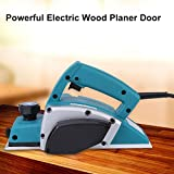 Wood Planer, 110V Portable Electric Handheld Planer Powerful Woodworking Tool with Guide Ruler Blade Sharpener Frame for Home Furniture
