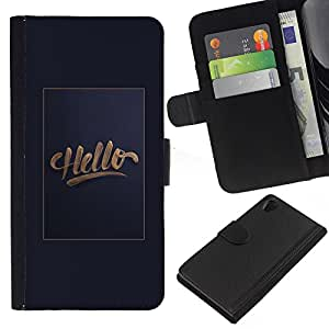 EJOY---La carpeta del tirón la caja de cuero de alta calidad de la PU Caso protector / Sony Xperia Z2 D6502 / --Hola cartel de oro pendiente de texto gris hi