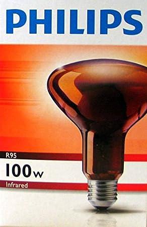 Infrarot Reflektor R95 Leuchtmittel 100W E27 230V rot Vollglas red dimmbar