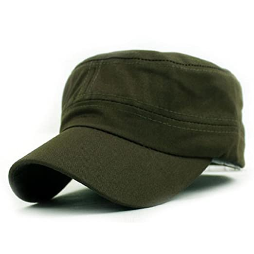 b736537d3e4 Amazon.com  Challyhope Classic Fashion Unisex Outdoor Camo Tactical Plain  Cadet Caps Army Military Hats Various Style and Colors Adjustable (Army  Green)  ...
