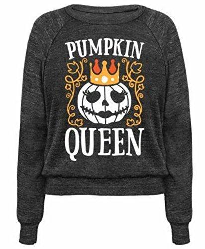 Halloween Sweatshirt Women's Pumpkin Queen Sweatshirt Casual Long Sleeve Round Neck Pullover Tops Size S (Halloween Jumper)
