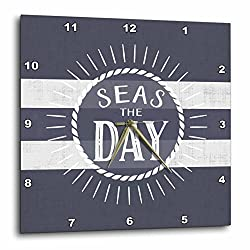 3D Rose Seas the Day Play on Words Nautical Beach Theme Bold Stripes Wall Clock, 15 x 15