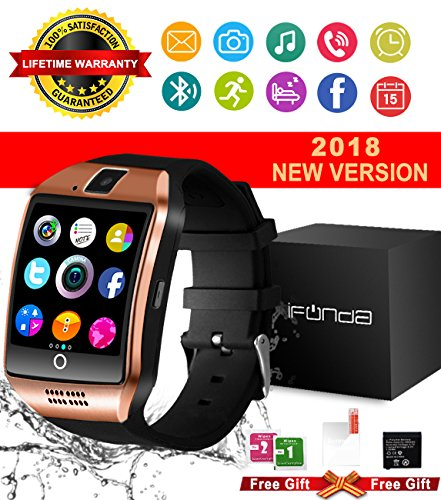 Bluetooth Smart Watch With Camera Waterproof Smartwatch Touch Screen Unlocked Cell Phone Watch Smart Wrist Watch Smart Watches For Android Phones Samsung IOS iPhone 7 7S 8 X Plus Men Women Kids (Gold)