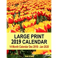 Large Print 2019 Calendar: 14 Month Large Print Calendar for 2019 starts in Dec. 2018 and ends   in Jan. 2020. Large blank calendar boxes to write in ... Easy to see important dates at a glance.