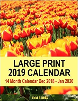 Calendar Dic 2017 January 2020 Large Print 2019 Calendar: 14 Month Large Print Calendar for 2019