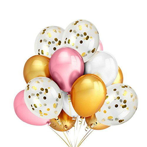 Shindig + Bash 12 Inch Party Balloons - Pink - Confetti - Gold - White - 20 Pieces by Shindig + Bash