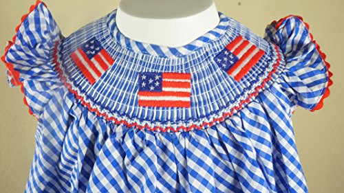 Boutique Clothing Girls USA America Flag Red White Blue Classic Bishop Dress 4T by Angeline (Image #1)