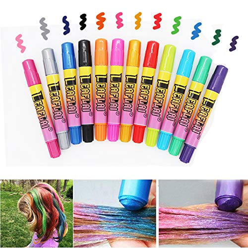 Hair Chalk Pens 12 Colors Temporary Hair Color for Hair Crayon Salon Dye One time Washable Hair Dye Safe for kids, Great Birthday Halloween New Year Gift for Kids Girls Teen Adults