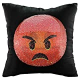 Dovewill Reversible Sequins Mermaid Throw Pillow Case Cute Emoj Expression Cushion Cover DIY Funny Decoration - Happy and Angry, 40x40cm