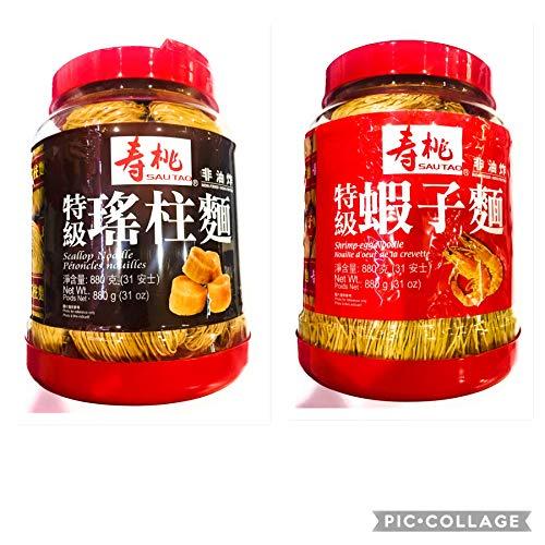 SauTao Non-Fried Egg Noodle 寿桃非油炸麵 880g x 2 (Shrimp or Scallop)...