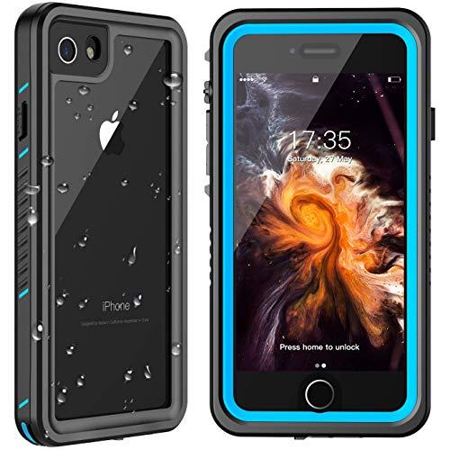 MYJOJO iPhone 7 Waterproof Case iPhone 8 Waterproof Case, 2019 Full Body Protective Shockproof Sandproof Dirtproof IP68 Underwater Outdoor Waterproof Case for iPhone 7 & iPhone 8 (Blue/Clear)