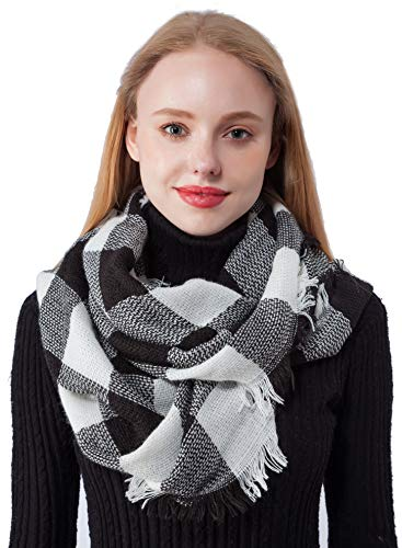 Winter Infinity Scarf for Women Knit Circle Scarf Plaid Infinity Scarves for Girls(Knitting Black+White) ()