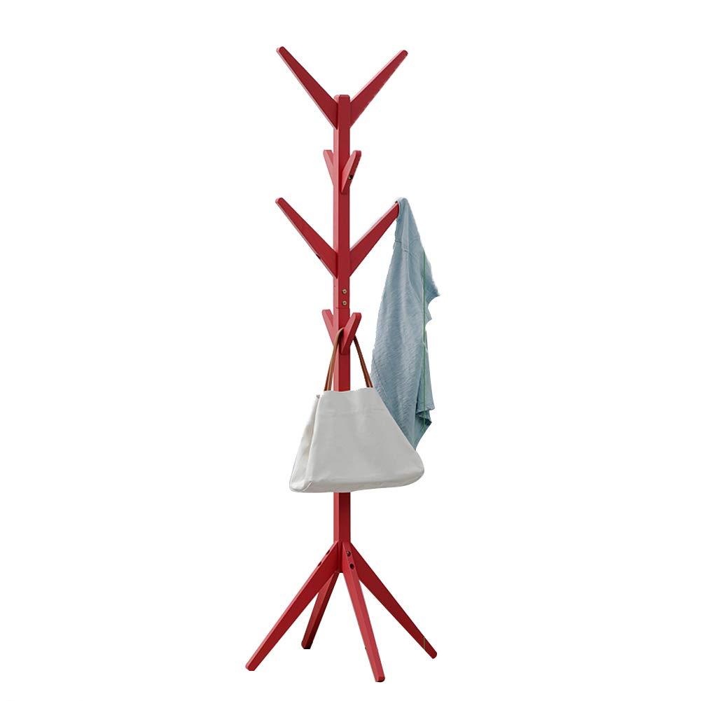 JIANFEI Floor Standing Coat Rack Hat Stand Hanger 8 Hook 4-Corner Base Bedroom Living Room, Pine 4 Colors (Color : Red, Size : 45x175cm)