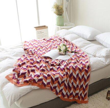 MYLUNE HOME 100% Baumwolle Luxus Stilvolle Strickdecke für Fernsehen oder Nap auf dem Stuhl, Sofa und Bett 120X180cm (red)