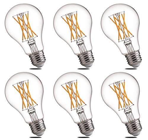 Dimmable LED Edison Light Bulbs 60 Watts Equivalent E26 Base - FLSNT A19 Clear 9 Watts LED Filament Bulbs, 2700K Soft White, 810 Lumen, 360 Degree Beam Angle, 6 Pack