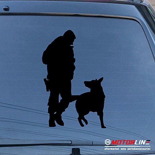 Shepherd Dog Sticker (3S MOTORLINE Police K9 Dog Decal Sticker German Shepherd Car Vinyl pick size color (black, 6'' (15.2cm)))