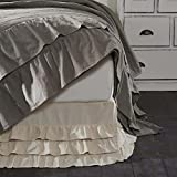 Best Style & Bed Skirts - Ruffled Chambray Natural Twin Bed Skirt, 39x76x16, Farmhouse Review